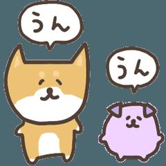 柴犬と紫犬(毎日使えるヨ)