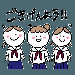 女子学生スタンプ
