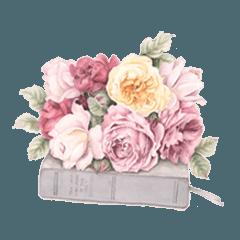 優しい色あいの水彩の花のスタンプ