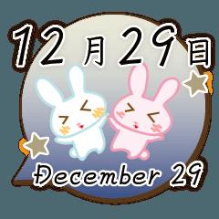[LINEスタンプ] 12月29日記念日うさぎ
