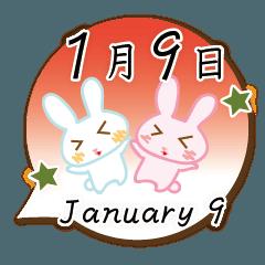 [LINEスタンプ] 1月9日記念日うさぎ