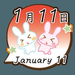 [LINEスタンプ] 1月11日記念日うさぎ