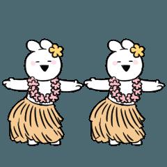 [LINEスタンプ] すこぶる動くウサギ【常夏】