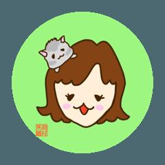 猫村茶織&ゴマちゃんスタンプ