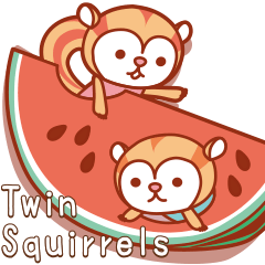 「Twin Squirrels」真夏の子リスたち