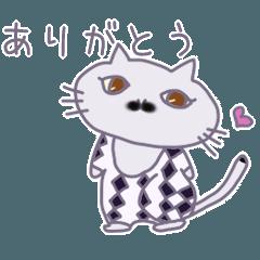 黒ひげ模様の白黒猫ちゃん
