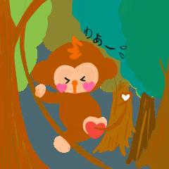 【動物】日常使える挨拶スタンプ【サル】