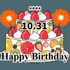 10月のお誕生日祝い カスタムスタンプ