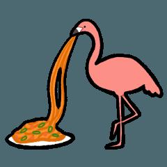 高いところから麺をすするフラミンゴ