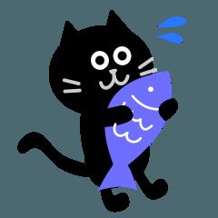 [LINEスタンプ] シンプルな黒猫のスタンプ (1)