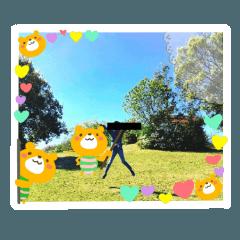 [LINEスタンプ] 黄色いくまの写真にスタンプ