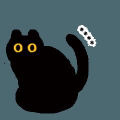 割と長文で喋る黒い猫のスタンプ。