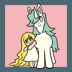 [LINEスタンプ] かわいいユニコーンと女の子