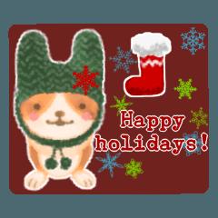 寒い季節に使えるほんわか犬の冬スタンプ