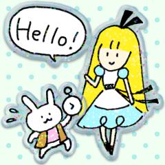 きらきら♡シール風アリスのスタンプ