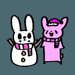 ネコ×2とウサギ×1の冬スタンプ